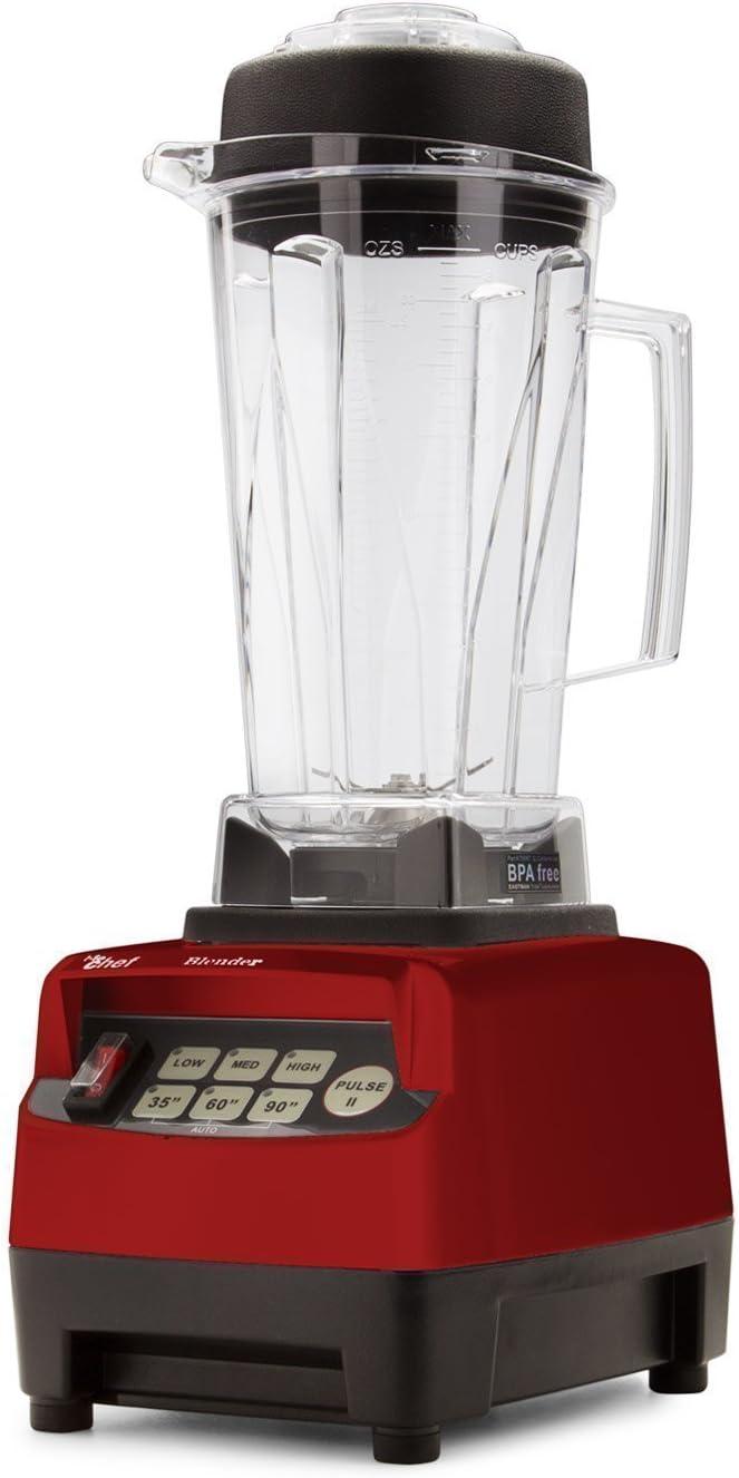 Batidora BioChef High Performance Blender – Batidora de vaso profesional 2L, 1600W, bajo consumo, BPA free. 10 años de garantía. (Rojo)