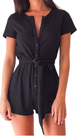 1dc429f4511 Pandapang Women s Casual Short Sleeve Button Down Belt Rompers Jumpsuits  Black X-Small