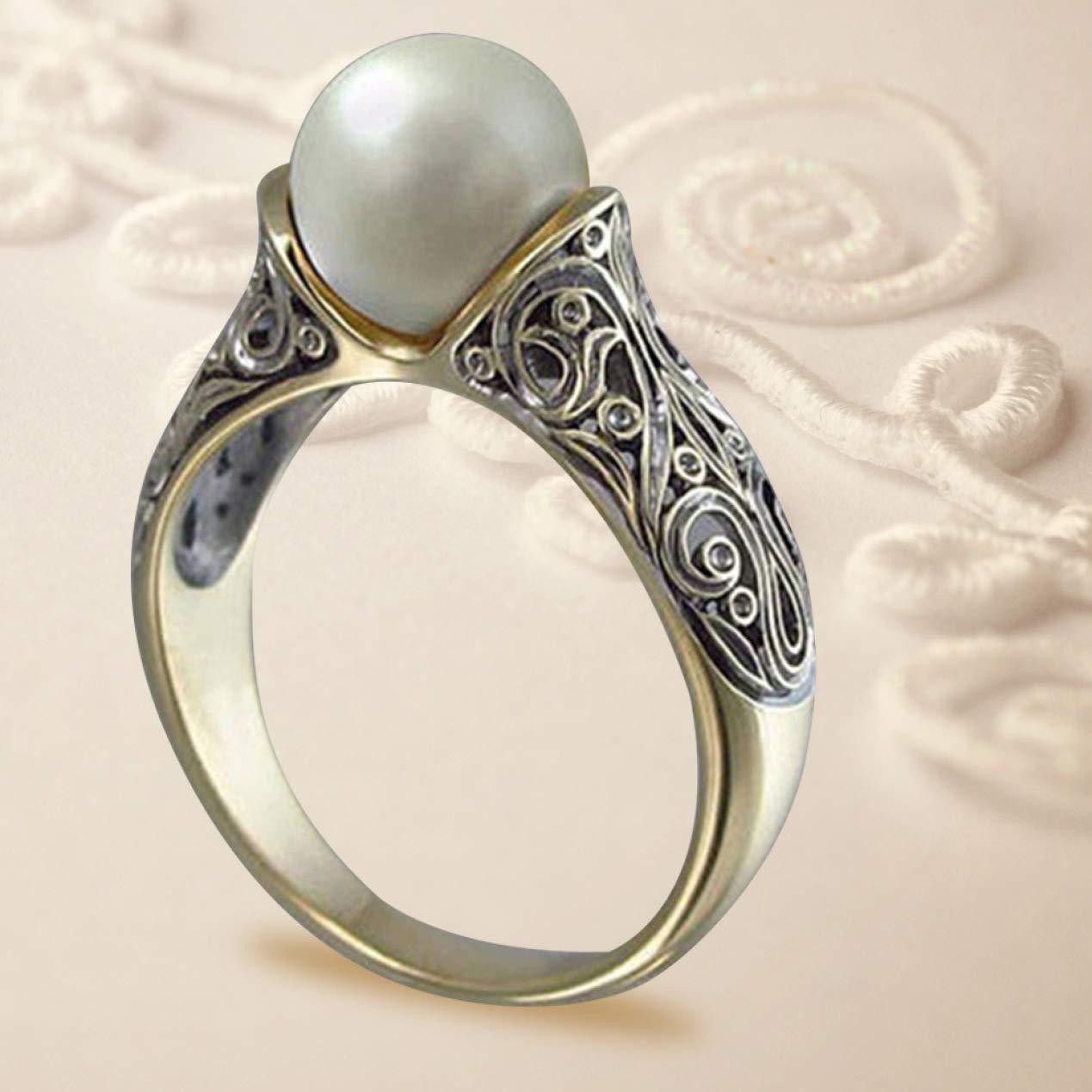 Fidanzamento Anello Vintage Placcato con Perle Bianche Artificiali qindegong Casual Anello da Donna per Matrimonio