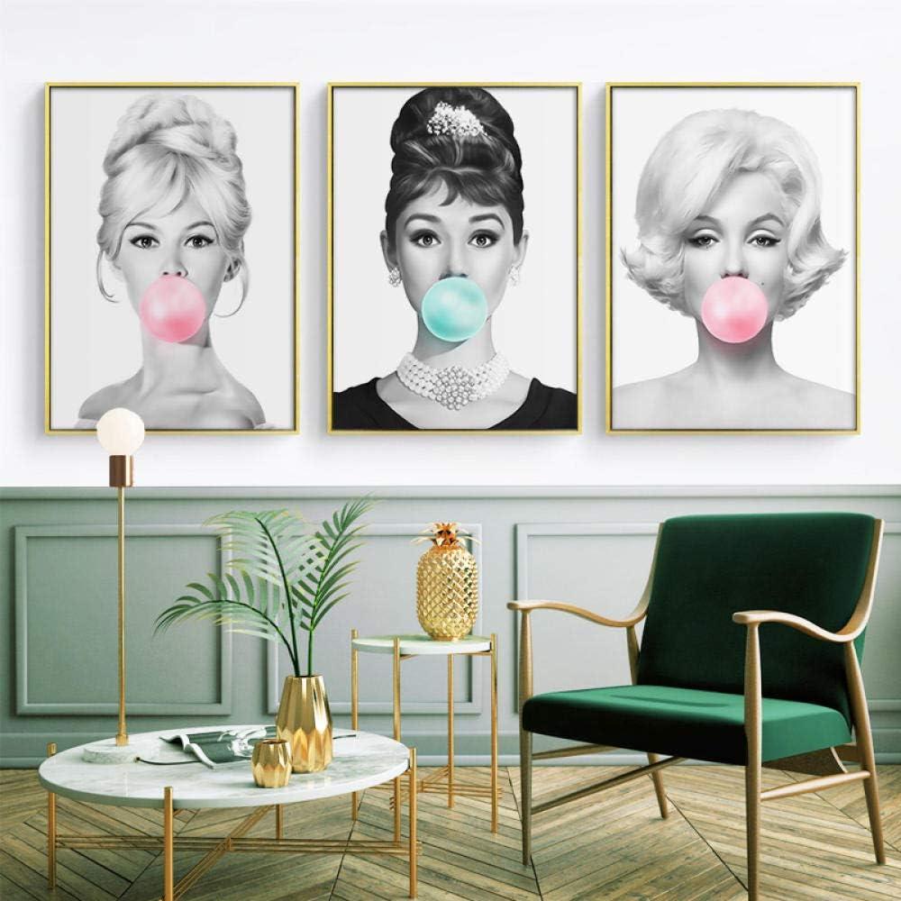 Audrey Hepburn Bubble Gum Wall Art Canvas Fashion Posters Brigitte Bardot & Marilyn Monroe Prints Painting Pictures Home Decor/40x60cmx3 - Frameless