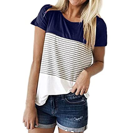 Perman Cheap Women Fashion Triple Color Stripe Splice Short Sleeve Casual Tops T-Shirt Under