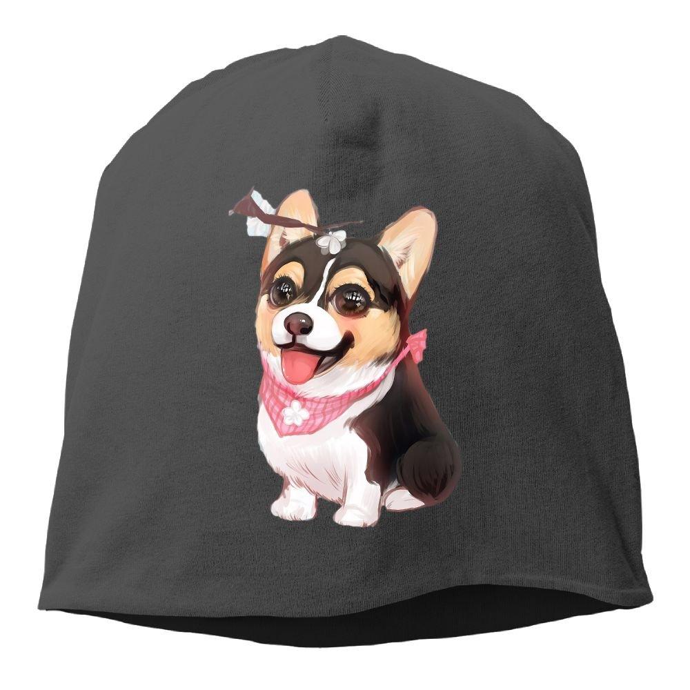 Headscarf Cute Corgi Paint Hip-Hop Knitted Hat for Mens Womens Fashion Beanie Cap