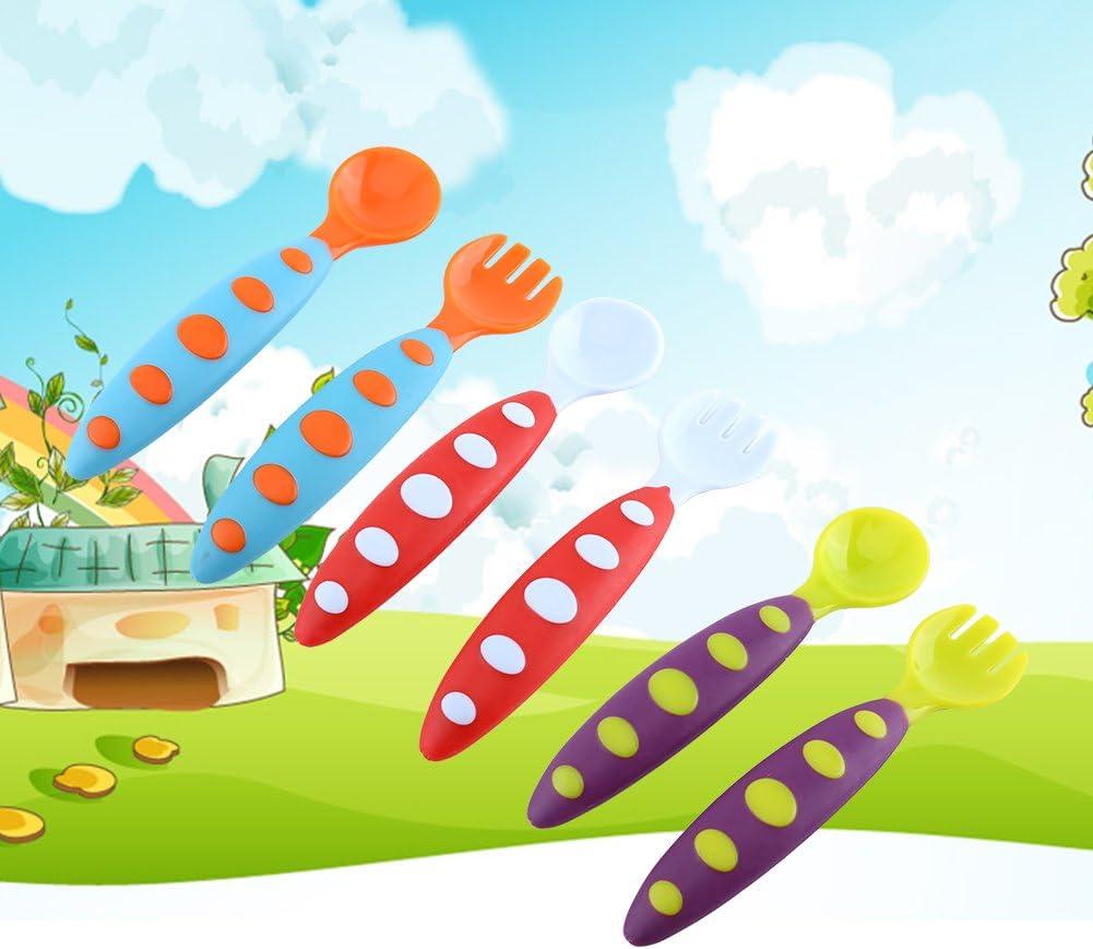 Zerodis 2Pcs Baby L/öffel und Gabel Set Kleinkind Kinder Essenlernen Besteck Anti-Rutsch Griff Blau