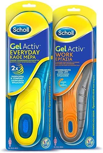 Scholl Kit Solette Gel Activ da Lavoro per Donna 1 Work + 1 Everyday, 35 40.5 EU, 2 Paia