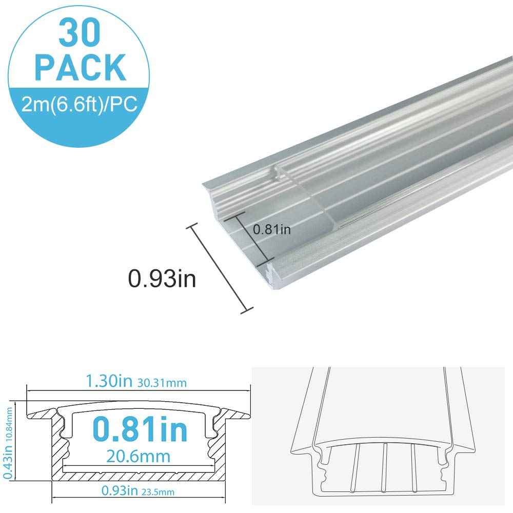 inShareplus 30Pack 6.6ft/2m LED Aluminum Channel Profile, Aluminum Extrusion with Clear Cover U-Shape Flush Surface Mount for Double Row Less 20mm 3528 5050 LED Strip Lights Installation