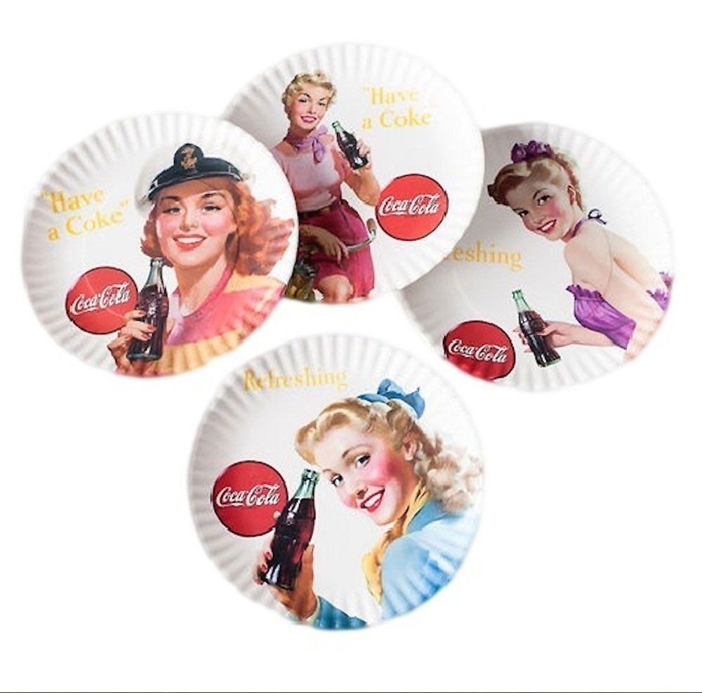 Coca-cola''Girls'' Picnic/Dinner Plate, 9 Inch Melamine, Set of 4 Styles, Red & White