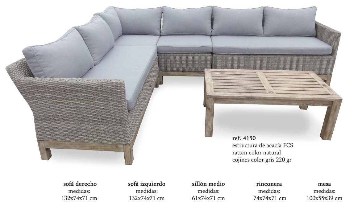 Sofa terraza rattan color natural acacia cojines gris ...