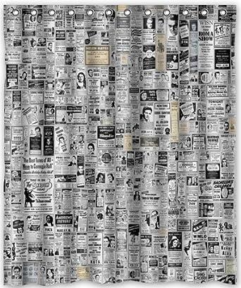 Amazon HOT Design Newspaper Shower Curtain 60w X 72h
