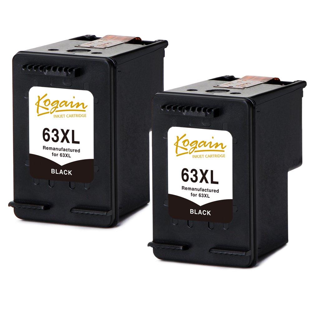Kogain Remanufactured for HP 63 63XL Ink Cartridges 2 Black, High Yield Work with HP Envy 4512 4516 4520 4522, DeskJet 1112 2130 3633 3634, OfficeJet 3830 3831 3832 4650 Printer