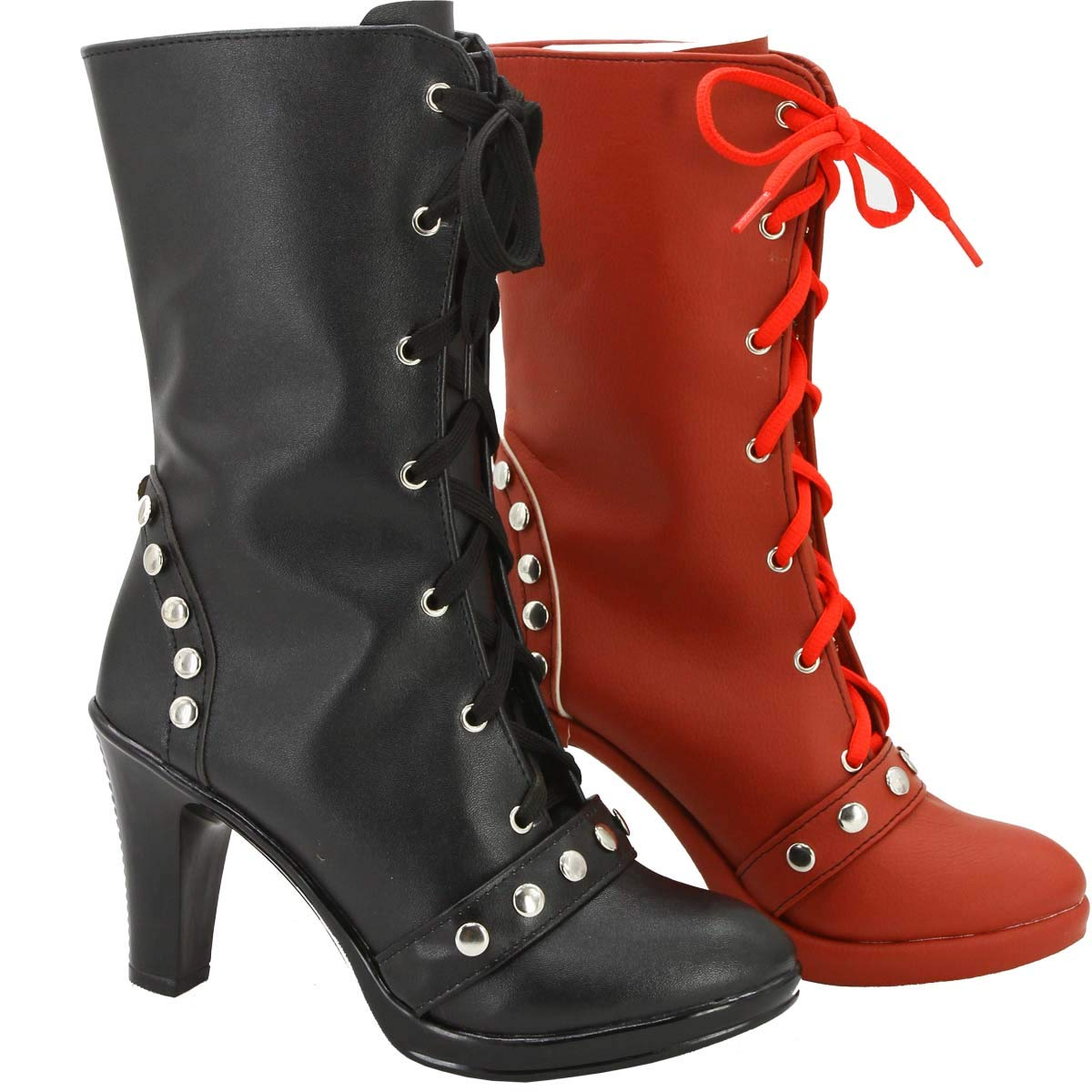 GOTEDDY Harley Booties Halloween Cosplay Clown Short Boots Leather Lace-up Shoes