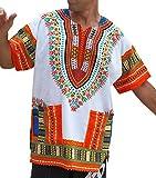 RaanPahMuang Unisex Bright Africa White Dashiki Cotton Plus Size Shirt, XXXXXX-Large, New White Orange