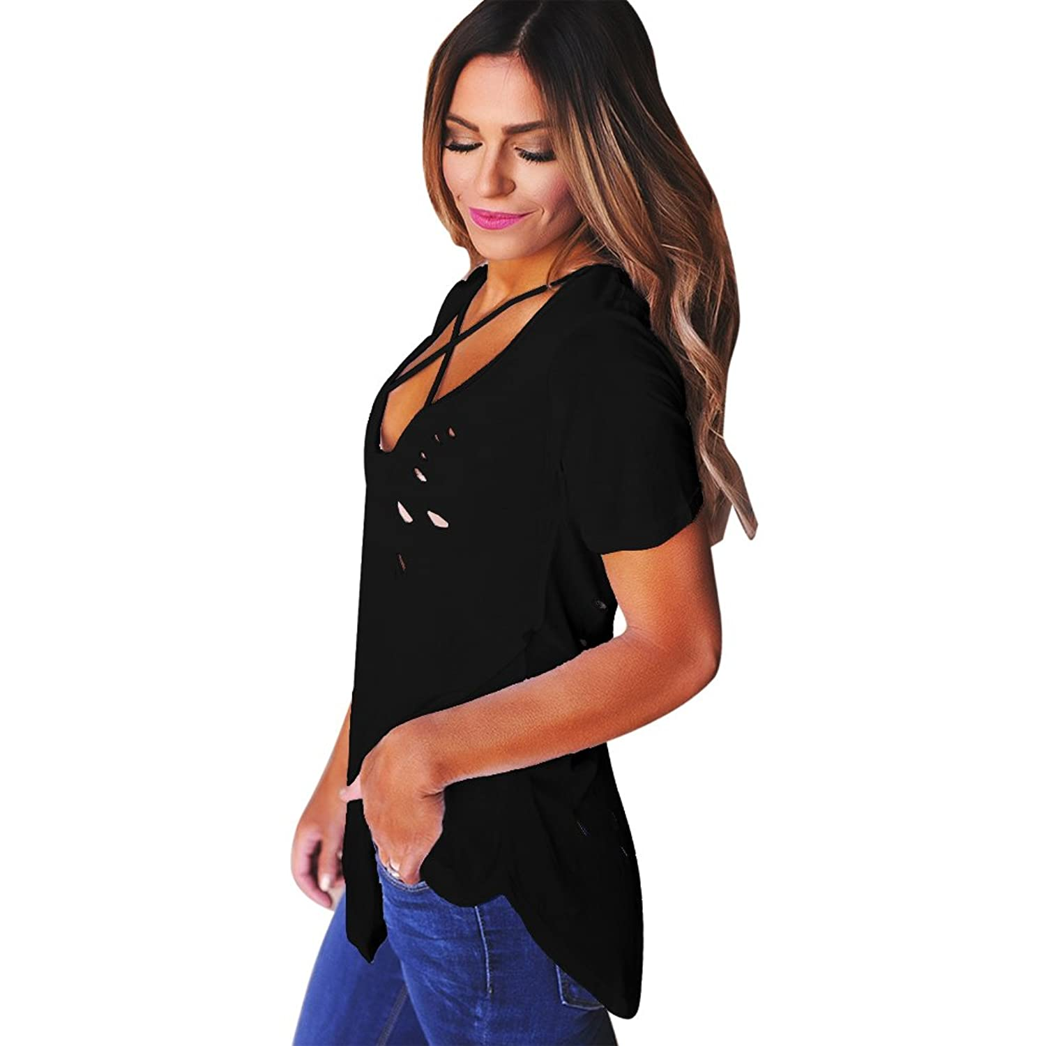 Imixcity Women Sexy Deep V Neck Hole Ripped T-Shirt Crisscross Front  Destroyed Tee Baggy Tops Clubwear Plus Size: Amazon.co.uk: Clothing
