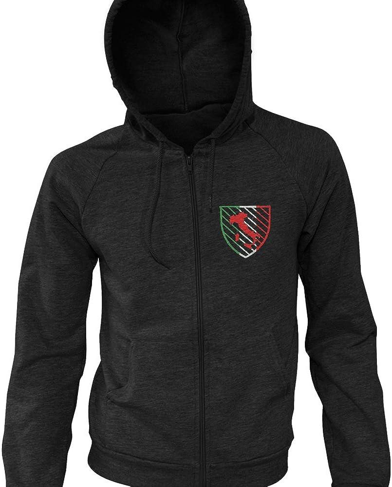 MMA Customs Italy Shield Italian Chest Logo Soccer FIFA Zip-Up Hoodie Black
