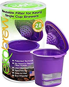 Ekobrew - Plastic Refillable K-Cup for Keurig and Ekobrew Brewers, Purple