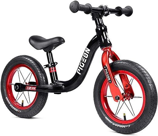Bicicleta sin pedales Bici Balance Bike de 3 años - Regalo de cumpleaños para niños, Bicicleta de Entrenamiento de Empuje Ligero Negro con Asiento Ajustable, 12