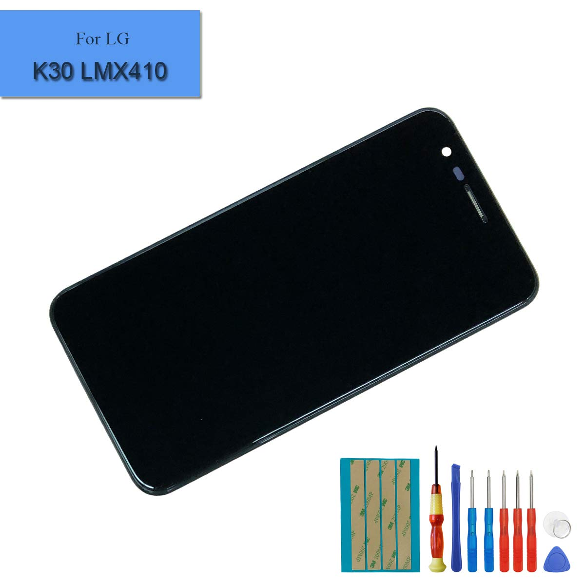 New Replacement LCD Touch Screen Compatible with LG K30 K10 2018 K10a K10+ LMX410 LMX410TK Black Digitizer Full Assembly with Frame + Adhesive + Tools