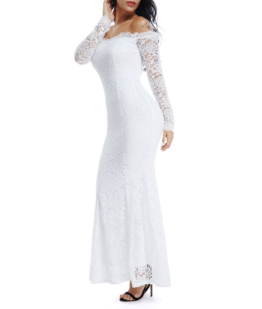 Lalagen Women's Floral Lace Long Sleeve Off Shoulder Wedding Mermaid Dress White1 S by Lalagen (Image #2)