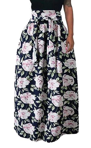 efeb613fdb6 Fubotevic Womens Print Belted Casual Pleated Elastic Waist Plus Size Beach  Maxi Skirt 1 XS