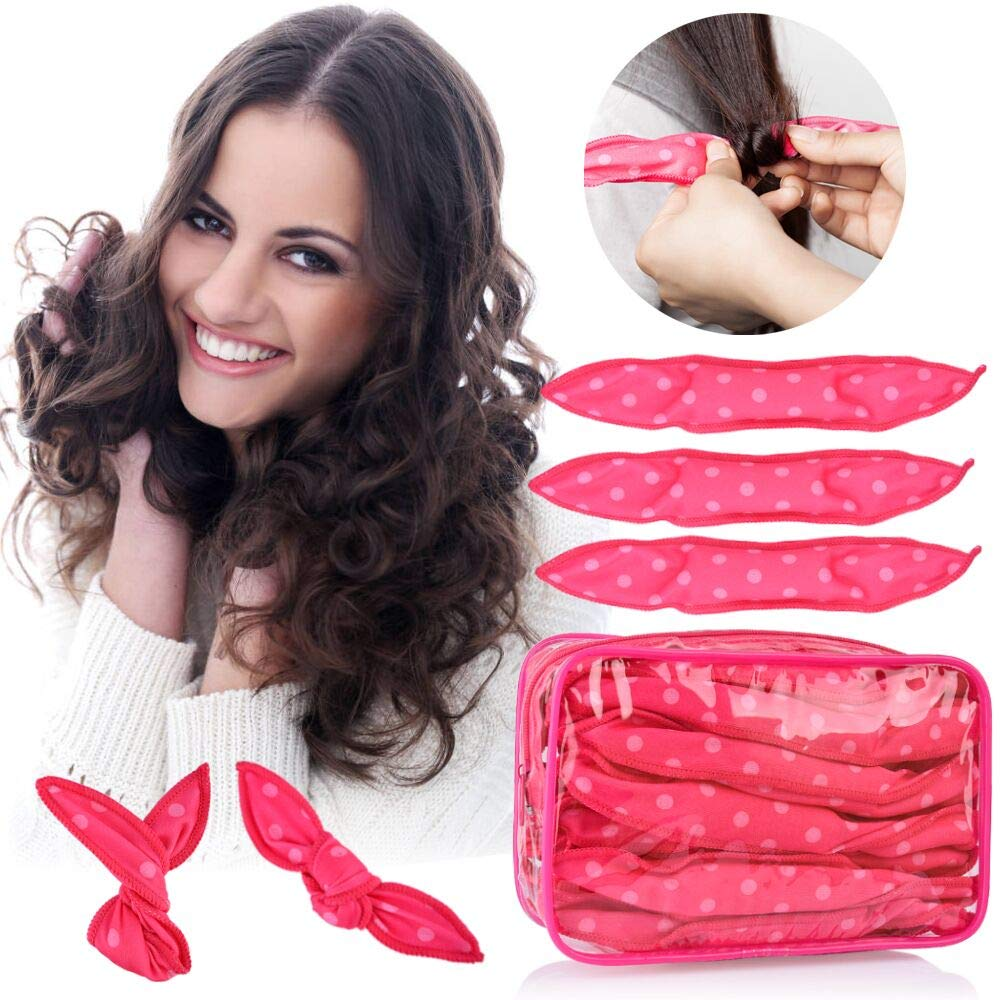 30pcs Hair Rollers - HailiCare Foam Hair Roller for Hair DIY - Flexible Soft Pillow Curlers - No Heat for Women & Kids (Pink)