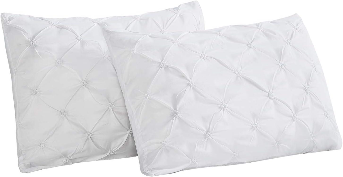 Vaulia Lightweight Soft Microfiber Pillow Shams, Pinch Pleat Design, Standard Size - White, Set of 2