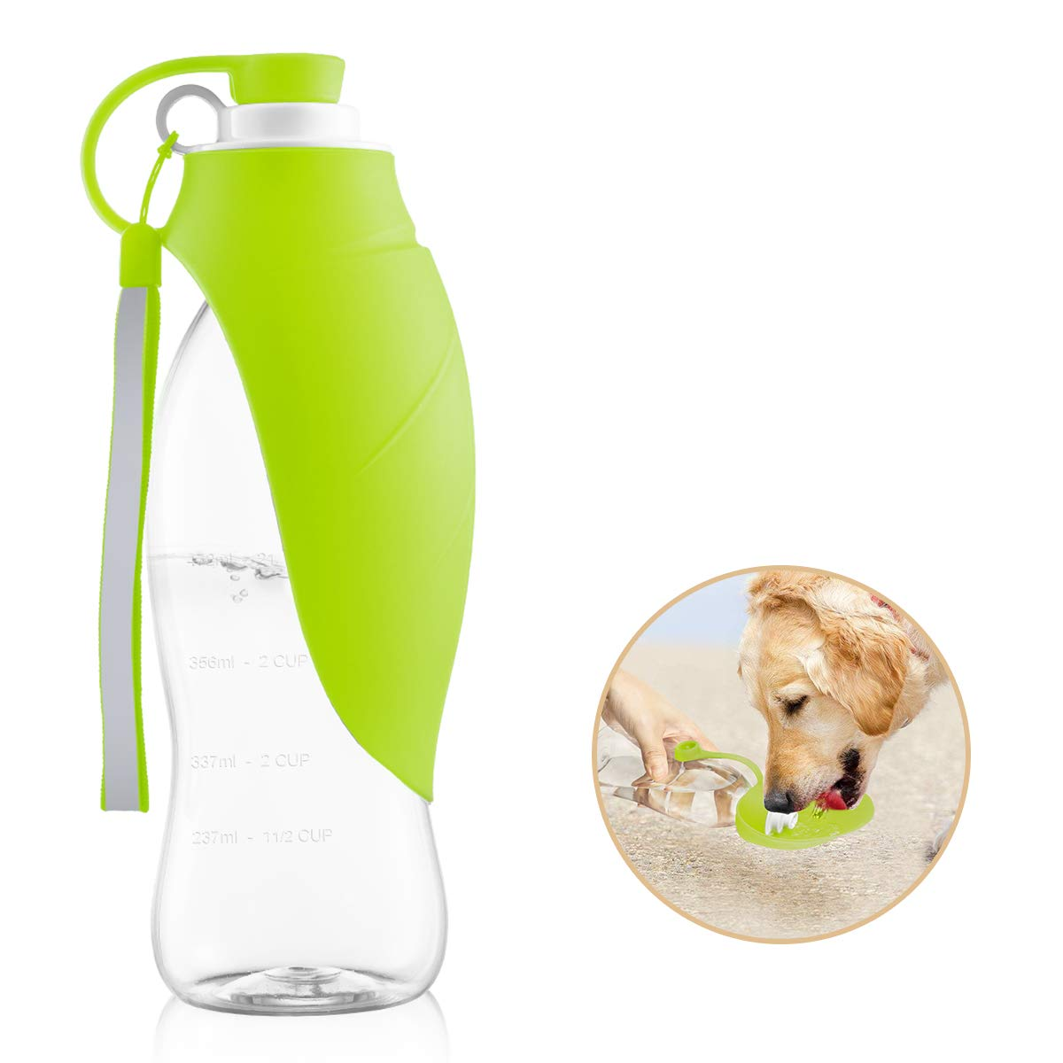 perpets Portable Dog Water Bottles,Reversible & Lightweight Travel Pet Water Dispenser with Expandable Silicone Flip-Up Leaf,Made of Food-Grade Silicone 20 OZ (Green)