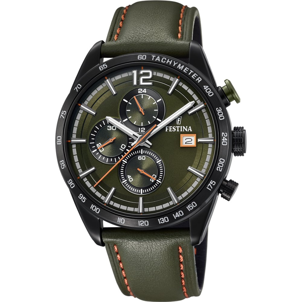 Men's Watch Festina - F20344/6 - Chronograph - Tachymeter - Date - Leather Strap - Green and Orange