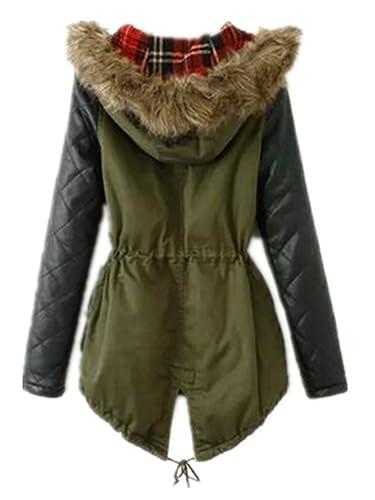 Women Winter Warm Faux Leather Sleeves Hoodie Parka Jacket Coat ...