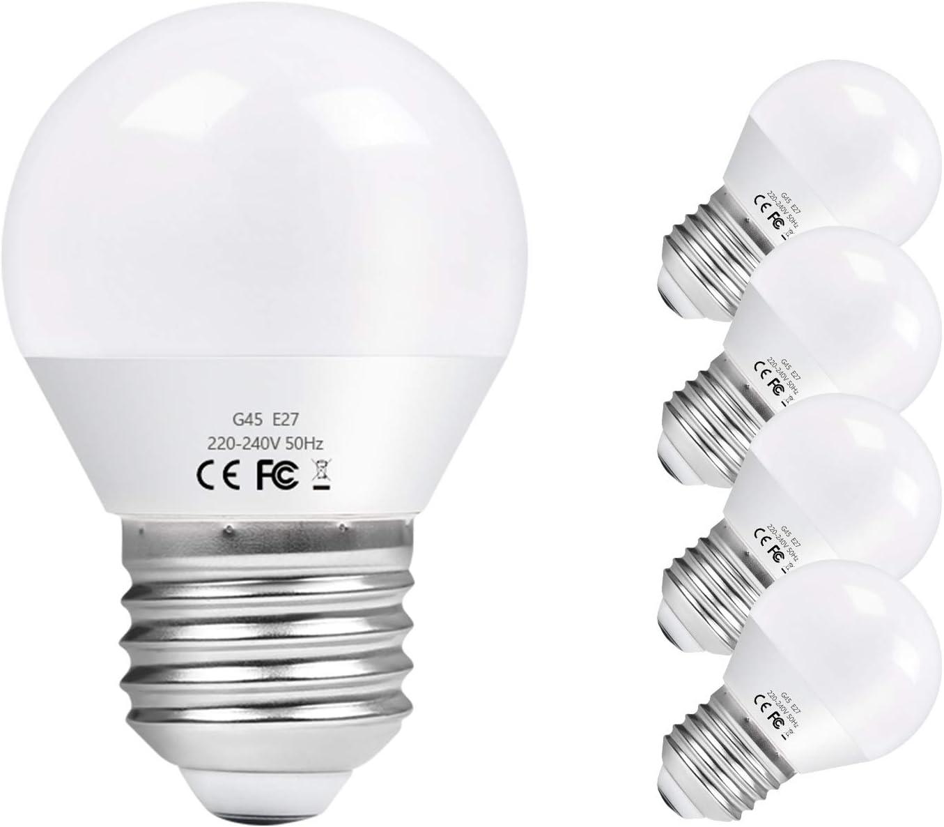 Vicloon E27 Bombilla LED G45, 6W equivalente a 40W Bombilla Incandescente, Equivalente 50W Bombilla Halógena, 550LM 6500K Blanco Frío E27 Lámpara LED, No Regulable, Angulo de haz de 270°, Pack de 5