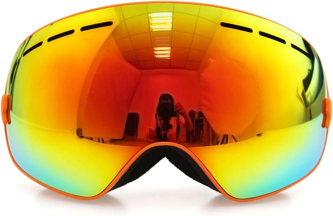 フレームオレンジゴーグルスキースノーボードゴーグル曇り止めuv400冬スポーツスキーゴーグルセット