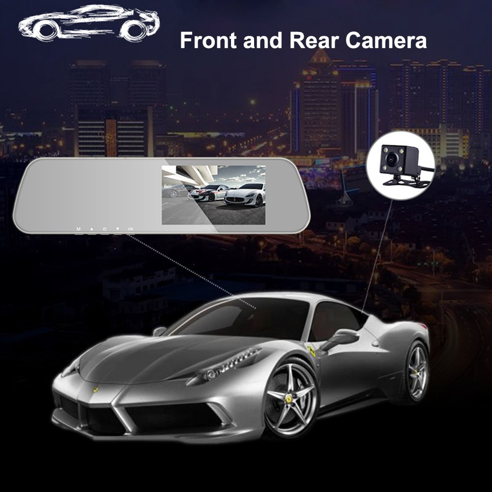 INRIGOROUS Dual Lens Dash Cam 4.3 Rearview Mirror Dash Cam Dual lens in Car Camera Black Box Car DVR Double Cameras Dashcams Car Video Recorder A30