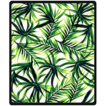 Woyua Palm Tree Background Tumblr Pattern Throw Blanket Super Warm Comfortable Fleece Bed Counch Blankets 50
