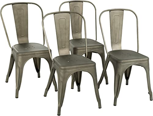 Metal Dining Chairs Set of 4 Stackable Metal Chairs Room Chair Vintage Patio Chair