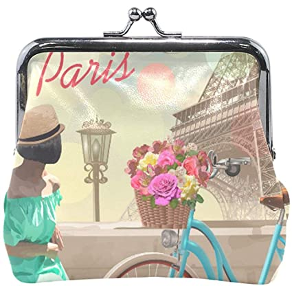 Vintage Paris Eiffeltower Girl Bike Monedero Lindo Monedero ...