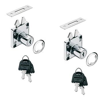 GedoTec Cerradura de mueble rodillo obturador cerrado atornillable SET para Puertas correderas & Persiana Acero cromado