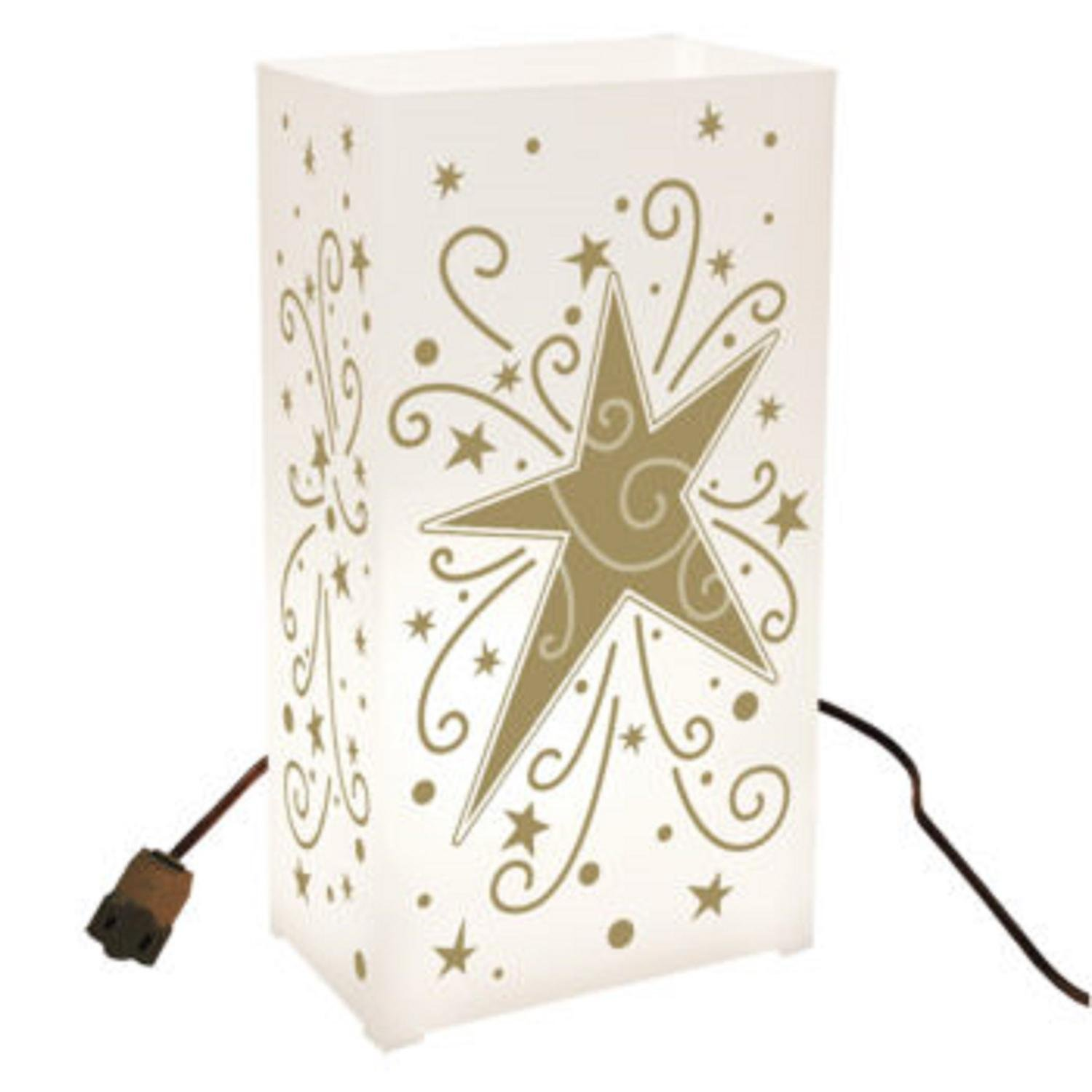 CC Home Furnishings Set of 10 Lighted Celebration Gold Star and Swirl Luminaria Pathway Markers