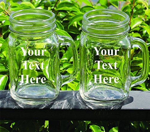 Set of 2 Personalized Mason Jar - Wedding Party Groomsmen Bridesmaid Housewarming Gifts - Custom Engraved Monogrammed Drinkware Glassware Barware Etched for Free -