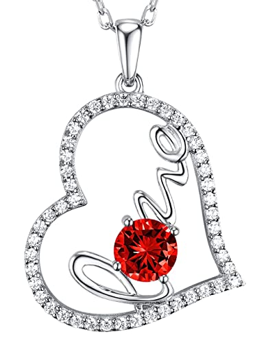 Gift For Women Jewelry Red Garnet Love Heart Pendant Necklace Birthday Anniversary Gifts Her Charm