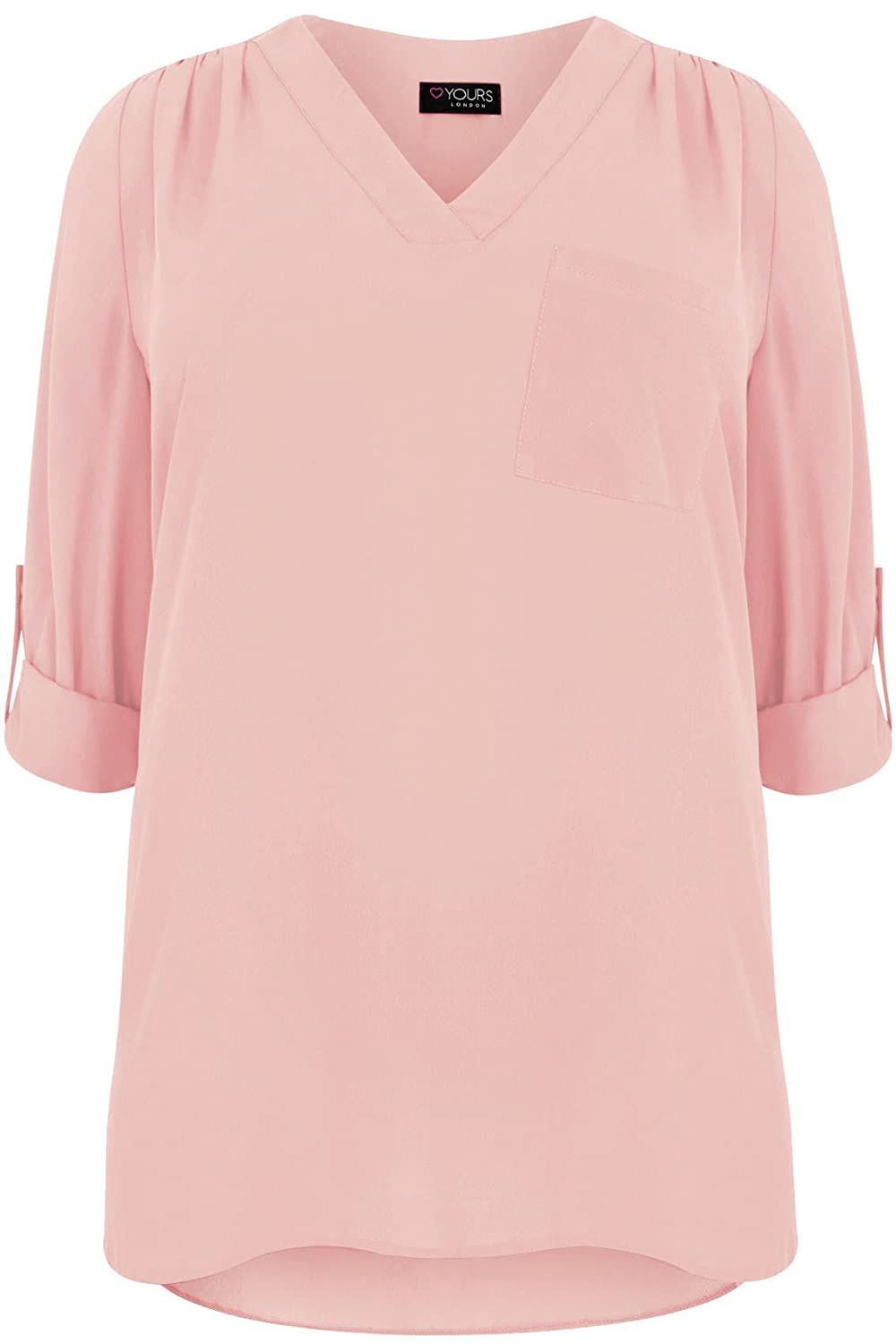 Yoursclothing Plus Size Womens Blush V-neck Blouse With Dipped Hem