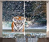 Natural Waterfall Decor Curtains Image Of A Large Majestic Tiger in The Waterfall Exotic Wildlife Animal in Nature Living Room Bedroom Decor 2 Panel Set Multi