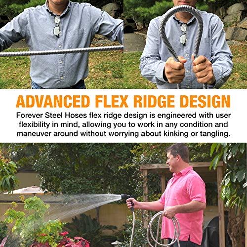 FOREVER STEEL HOSE | 50FT 304 Heavy Duty Stainless Steel Metal Garden Water Hose - Flexible, Expandable, Lightweight, Kink-Free | UV Resistant | Stays Cool in Summers, Never Frozen in Winter