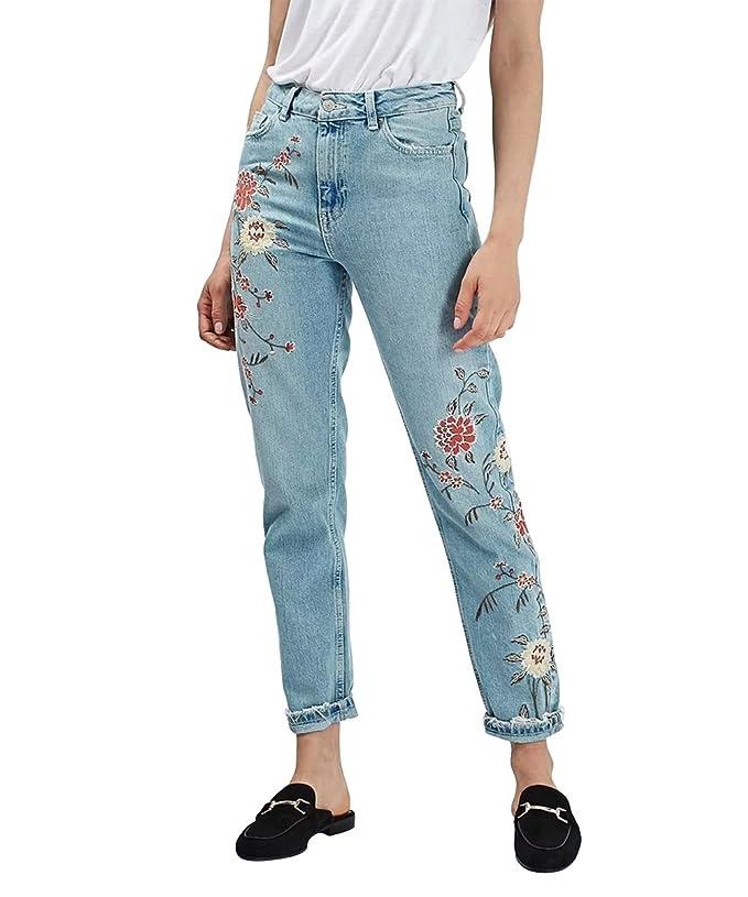 Womens jeans Mena UK Mujeres Flor de Alta Cintura Bordada Floral Delgado Pantalones Vaqueros Pantalones Vaqueros (Color : Azul Claro, Tamaño : 38)