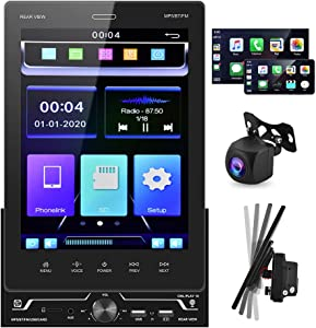 """Double Din Car Stereo Audio Receivers with Apple D-Play Bluetooth AHD Backup Camera 9.5"""" Touch Screen Car Radio MP5 Player Three USB, TF, FM Radio, Aux-in, A/V Input, SWC, Android/iOS Mirror Link"""