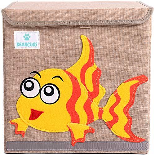 Bearcubs Cube Nursery Organizer Kids Storage Box Children`s Toy Chest 13in x 13in x 13inLid (Koala)