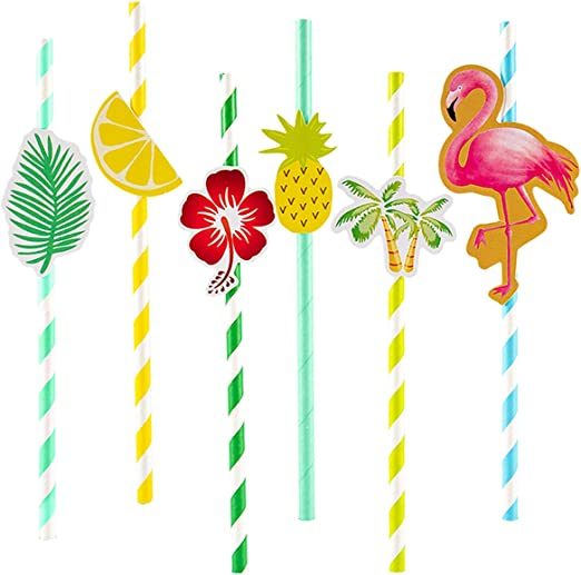 Tropical Beach Flamingo Glasses 25x Drinking Straws Luau Hawaiian BBQ Party