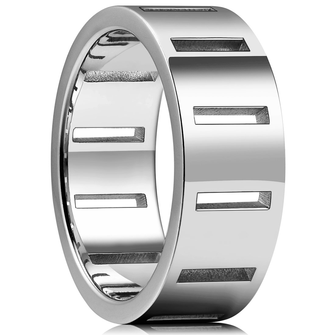 King Will TIME 8mm 316 Stainless Steel Wedding Band Ring Original Color with 12 Rectangle Hollow&Full High Polished(10.5)
