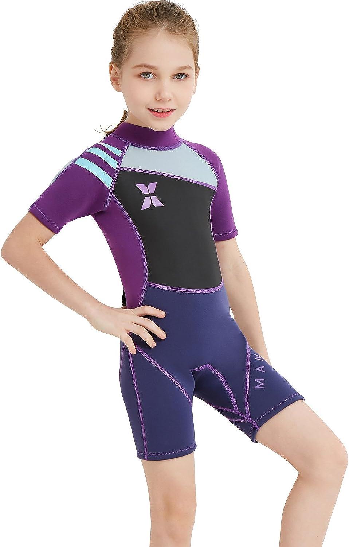 GWELL Jungen M/ädchen Kinder Neoprenanzug 2.5MM Neopren Kurzarm W/äremehaltung UV-Schutz Tauchanzug Badeanzug f/ür Wassersport