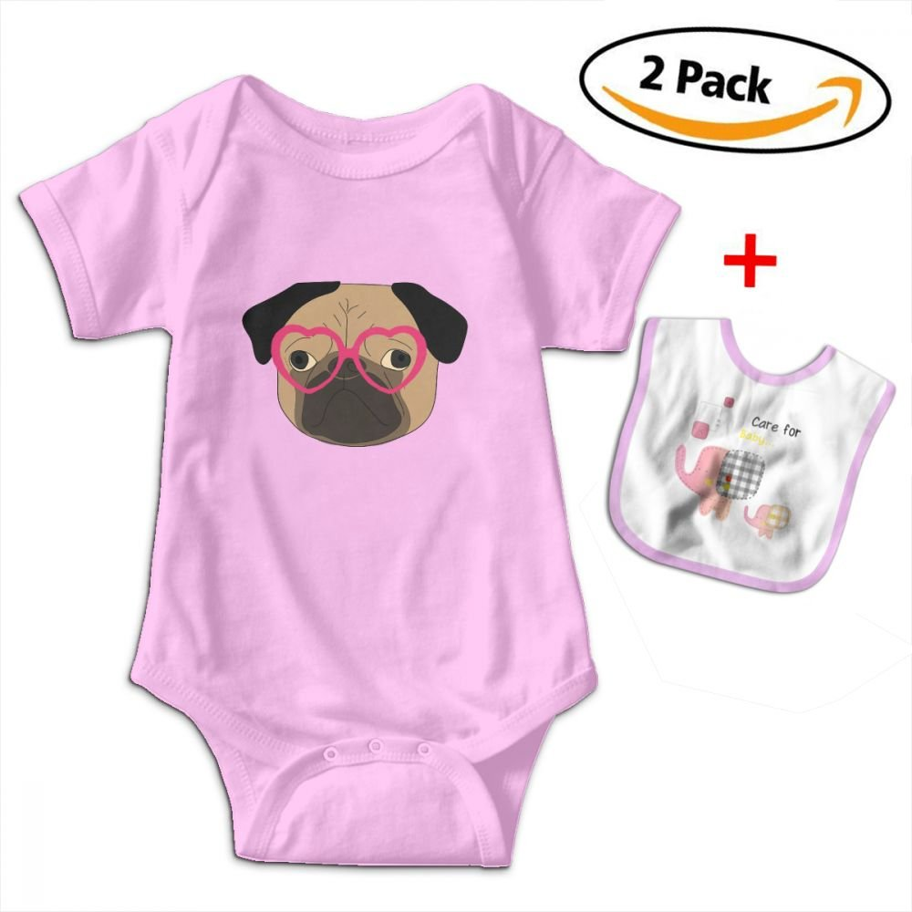 Robprint Cool Pug Dog with Heart Glasses Unisex Baby Cotton Short-Sleeve Bodysuits Rompers by Robprint