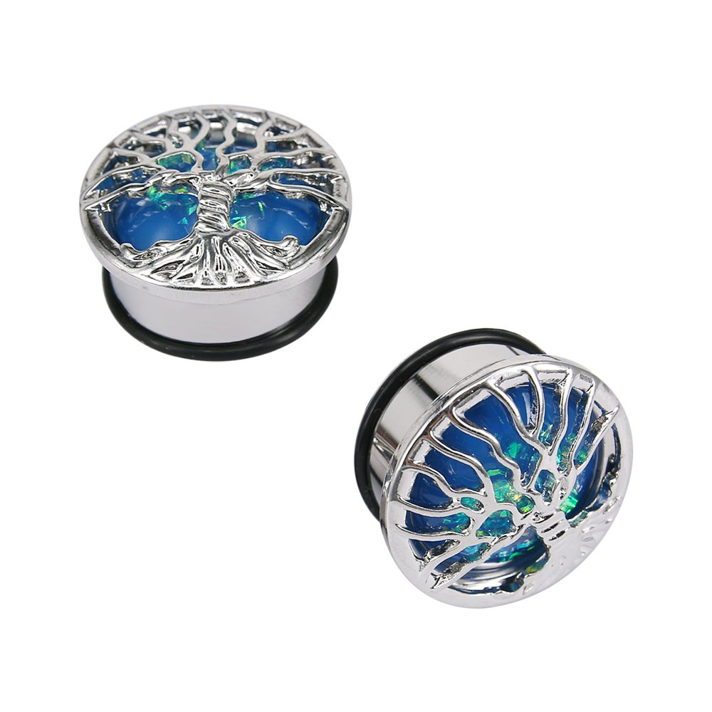 Blue Opal Tree Stainless Steel Ear Gauges Plugs Single Flare with O-Ring Expander Body Piercing Pierced Art Trends