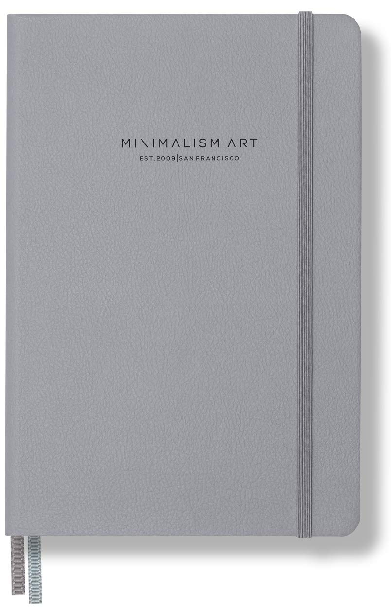 Minimalism Art, Premium Edition Notebook Journal, Composition B5 7.6 x 10 inches, Squared Grid Page,Hard Cover,234 Numbered Pages,Gusseted Pocket,Ribbon Bookmark,Ink-Proof Paper 120gsm (Gray)