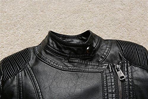 Budermmy Boys Faux Leather Motorcycle Moto Biker Jackets Zipper Coats Black Size 12 by Budermmy (Image #2)